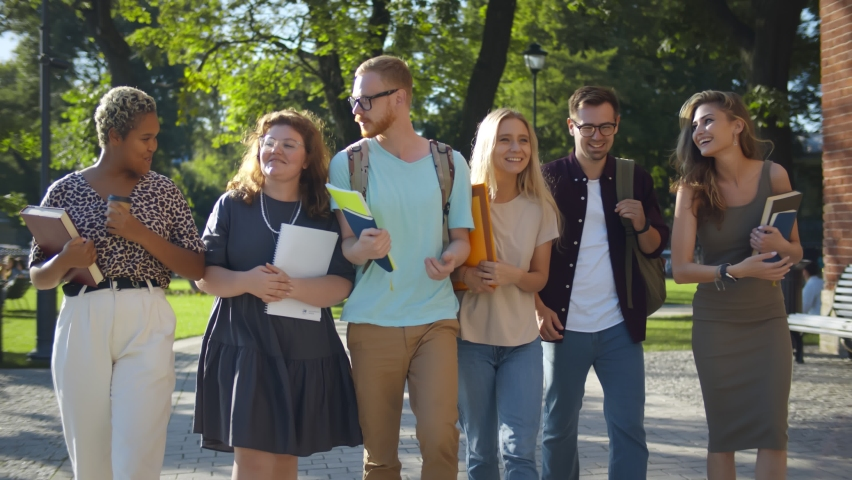 Multiethnic group of young cheerful students walking and talking outdoors. Diverse college friends with backpacks and books walking in campus park after classes Royalty-Free Stock Footage #1060524211