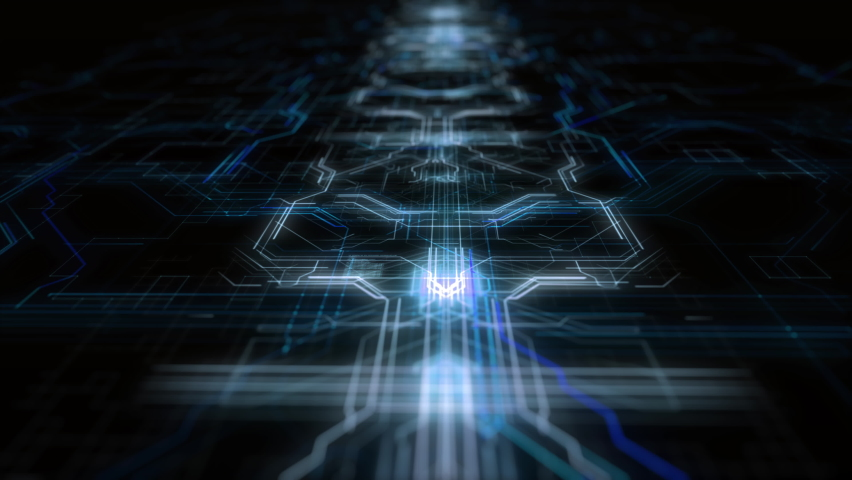Html code processing in abstract circuit board abstract server. Data moves in the form of moving lines. The movement and processing of data inside a server. 3d rendering Royalty-Free Stock Footage #1060531036