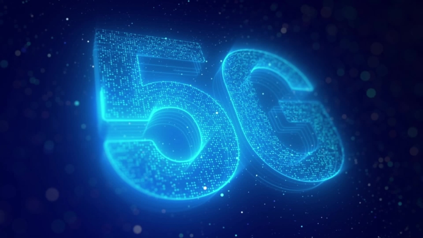 Motion Graphic Of Light Blue 5G Concept With Abstract Bokeh Background - New Generation Network - 3d render Royalty-Free Stock Footage #1060533079
