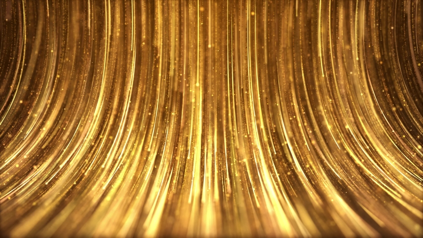 Golden particles streaks flow is a spectacular motion, luxury golden particle stripes keep falling. Elegant particle rain, gorgeous awards ceremony video, party performance stage screen background. Royalty-Free Stock Footage #1060534054