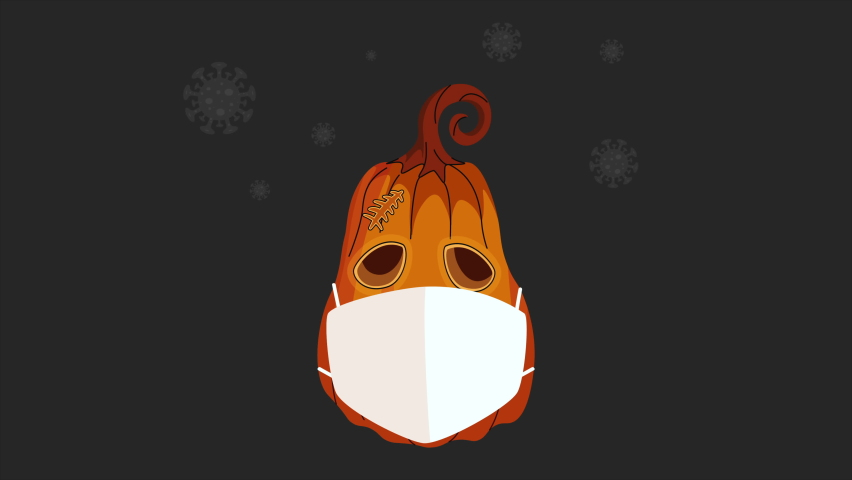 Pumpkin in a protective mask. Coronavirus Pumpkin cough in mask animation  | Shutterstock HD Video #1060536388