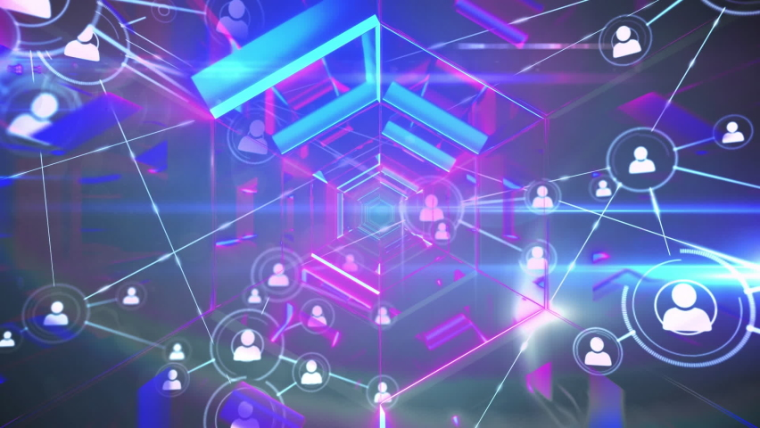 Animation of digital interface with network of connections with icons in glowing tunnel. Global technology and network of connections concept digitally generated image. | Shutterstock HD Video #1060539103