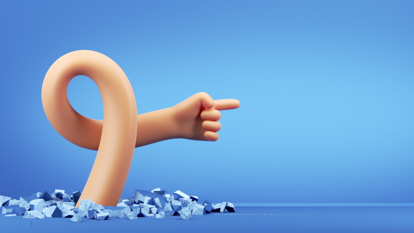 3d funny cartoon character flexible hand breaks a hole through the concrete floor, pointing finger shows right direction, isolated on blue background with blank copy space | Shutterstock HD Video #1060540090