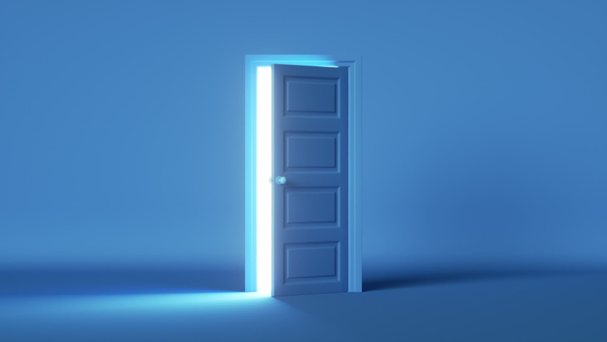 3d render, blue room, bright white light shining behind the opening door, flight forward, entering inside the doorway. Modern minimal concept. Opportunity metaphor. Royalty-Free Stock Footage #1060540318