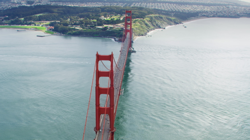 Aerial view of the Golden Gate Bridge. San Francisco, US. This suspension bridge is one of the most iconic landmarks of California. It connects the San Francisco peninsula to Marin County. Shot on Red