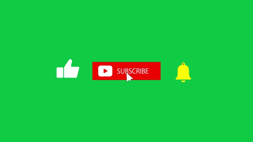 Animation of a Subscribe and Likes and Notification Button for Youtube. Green screen.