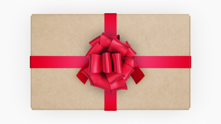 Beautiful Cardboard Box with Ribbons and Big Bow Opening. Unpacking Carton Gift Box 3d Animation with Green Screen Alpha and Mask. Untying Decorative Knot. 4k UHD 3840x2160.   Shutterstock HD Video #1060553983