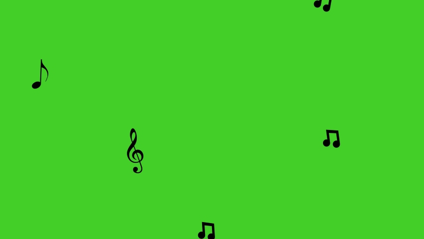 Musical note streaming up in melody. Green screen, 4K