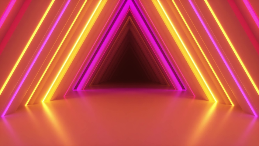 Abstract neon triangle tunnel technological. Endless swirling animated background. Modern neon light. Bright neon lines sparkle and move forward. Seamless loop 3d render Royalty-Free Stock Footage #1060558612