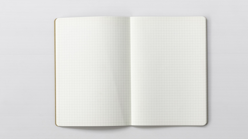 4k-Stop motion graph book animation open blank page for writing on white background. Royalty-Free Stock Footage #1060565644