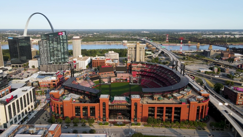 St. Louis , Missouri / United States - 09 19 2020: St. Louis Cardinals Baseball Stadium in Downtown City in Missouri - Flying Above Aerial view