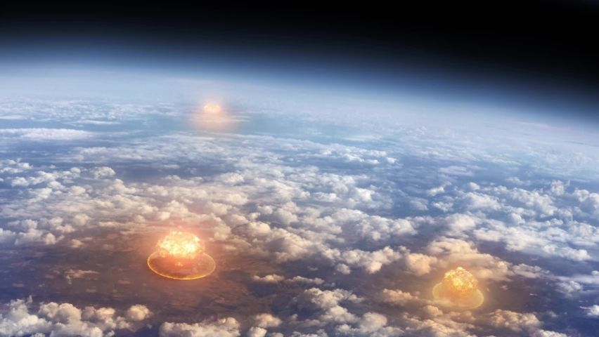Aerial view of nuclear explosions and mushroom clouds in space, nuclear war or World War III, apocalypse concept