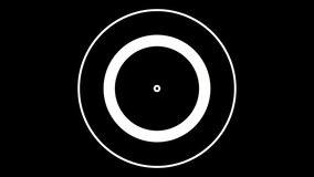 4K Concentric circles animation on a black background.Great for keying or masking and used as wipe transition as alpha channel
