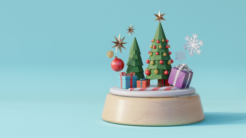 Christmas tree music box on blue background.- 3d rendering