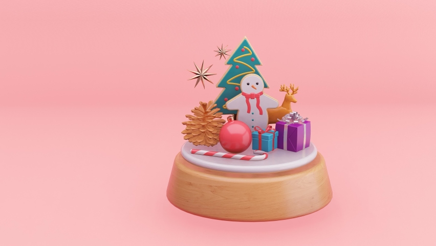 Christmas tree,Snow man and Gift music box on pink background.- 3d rendering | Shutterstock HD Video #1060581613
