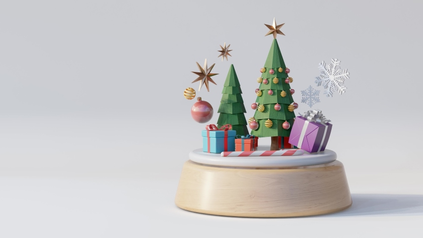 Christmas tree music box on white background.- 3d rendering | Shutterstock HD Video #1060581616