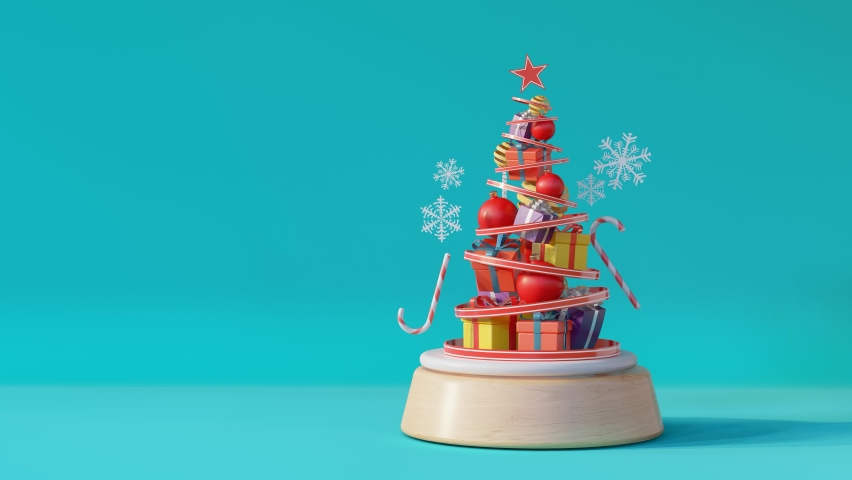 Christmas tree of Gift music box on blue background.- 3d rendering  | Shutterstock HD Video #1060581619