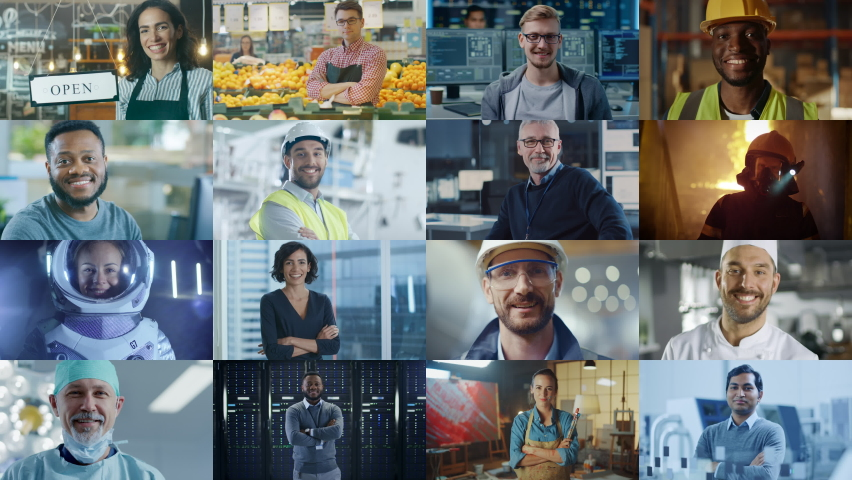 Multiple Screen Montage: Diverse Group of Professional People Smiling. Business People, Entrepreneur, Worker, Engineers, Female Astronaut, Artist, Chef, CEO, IT Specialist. Happy Workers of the World Royalty-Free Stock Footage #1060585798