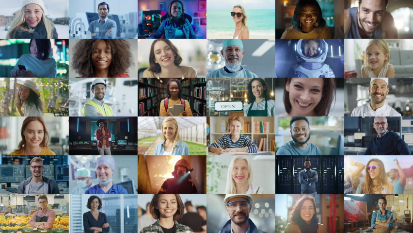 Montage of Happy Multi-Cultural and Multi-Ethnic People of Diverse Background, Gender, Ethnicity, and Occupation Smiling at Posing Looking at Camera. Happy Workers of the World Cheerfully Smiling. Royalty-Free Stock Footage #1060585801
