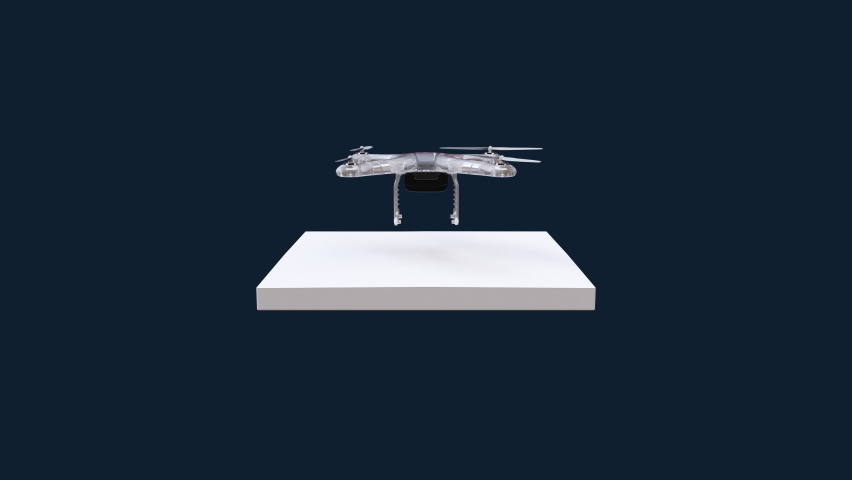 Autonomous flying drone on a white square floor, IoT Future transportation technology (included luma), Eyes view, 4k animation. Royalty-Free Stock Footage #1060595203