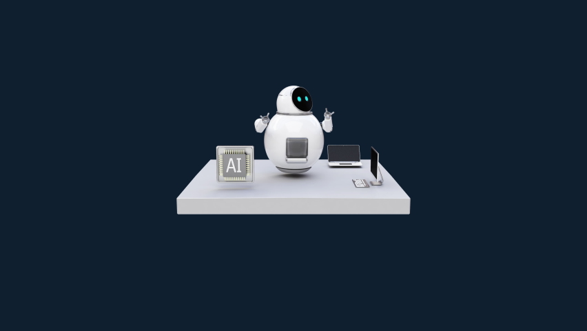 Artificial intelligence Robots and CPU chips on a white square floor, IoT AI Future technology, 4k animation. Royalty-Free Stock Footage #1060595209