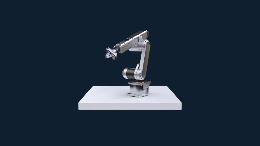 Robot arms on a white square floor, IoT 4th industrial revolution, Future technology (included luma), 4k animation. Royalty-Free Stock Footage #1060595212