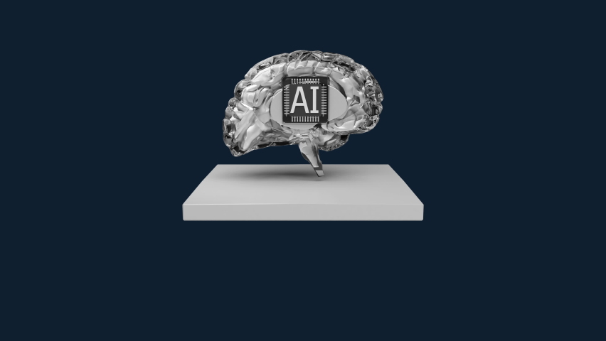 Rounded artificial intelligence digital brain, The AI cpu chip appears on a white square floor (Included luma), Eyes view, 4k animation. Royalty-Free Stock Footage #1060595215