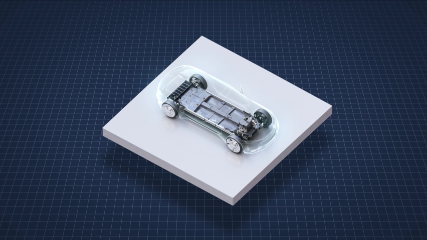 Autonomous driving electric battery car on a white square floor, IoT Future car technology, 4k animation. Royalty-Free Stock Footage #1060595224