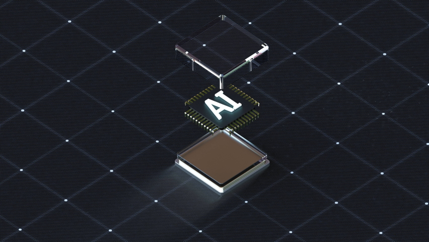 Electronic parts stacked down to make AI cpu chips, Future AI technology, 4k animation. Royalty-Free Stock Footage #1060595233