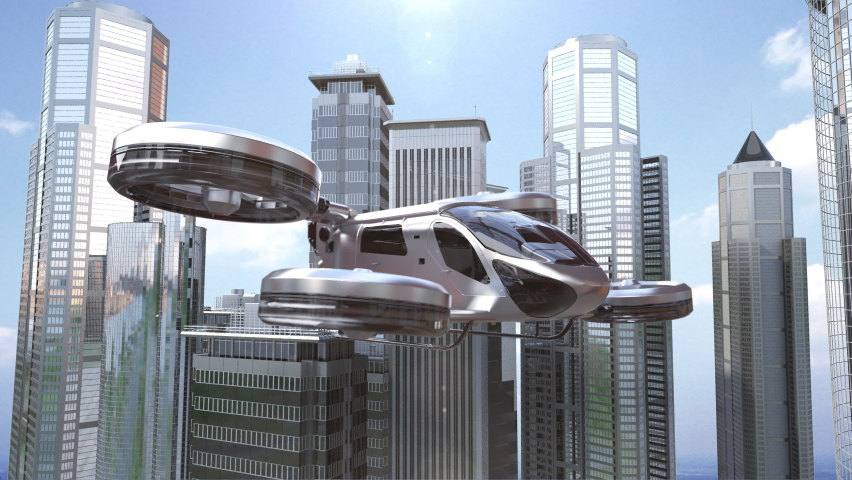 Drone taxi flying between buildings in city, Future transportation technology, 4k animation. Royalty-Free Stock Footage #1060595245