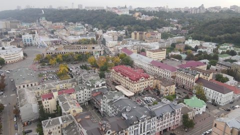 Cityscape of Kyiv, Ukraine. Aerial view, slow motion