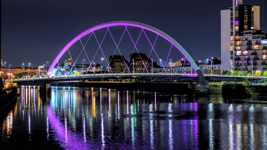 Glasgow cityscape timelapse at Clyde Arc Bridge