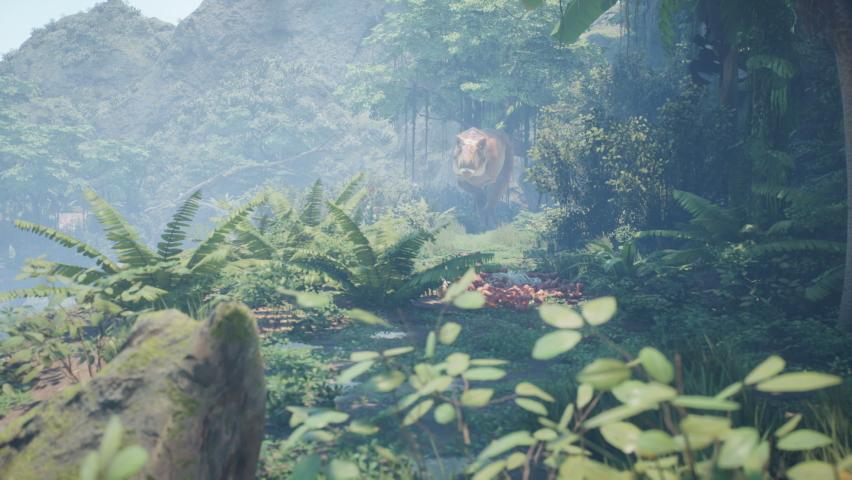 Prehistoric dinosaur Tyrannosaurus T-Rex hunts in the morning green jungle. View of the green prehistoric jungle forest on a Sunny morning. | Shutterstock HD Video #1060625995