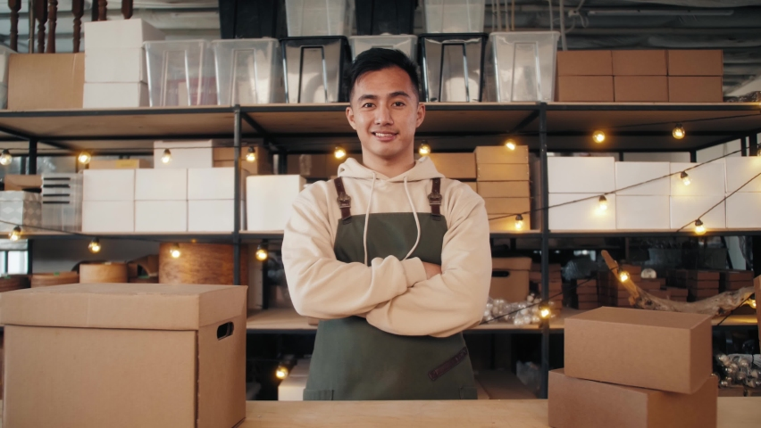 Small business owner in fabric workshop, asian man portrait, korean craftsman standing in warehouse stock factory, businessman, handmade e-commerce diy Royalty-Free Stock Footage #1060628263