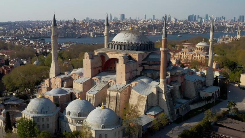 Istanbul City Sea and Hagia Sophia, Quarantine Aerial View 4