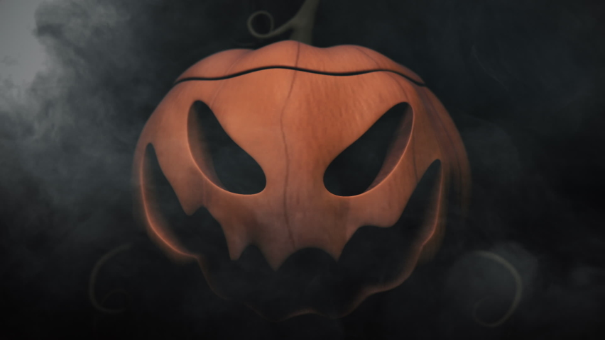 Animation of the appearance of a Halloween pumpkins from the darkness. Horror scene or Halloween decoration.   Shutterstock HD Video #1060655779