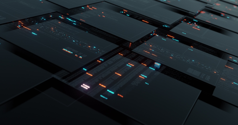 Abstract user interface head up displays, multiple screen with computer programming code and digital data telemetry information. 3D render, 4K seamless loop Royalty-Free Stock Footage #1060659238