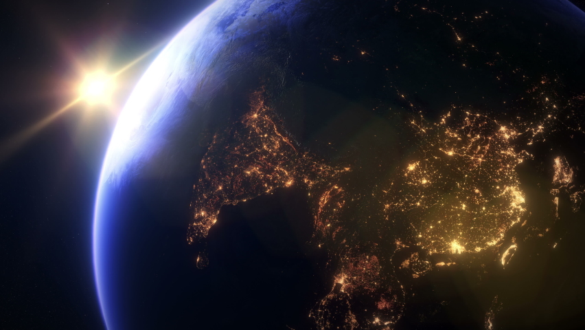 Slow Sunset Overt Asia. The Earth Seen From Space. Asian City Lights. | Shutterstock HD Video #1060662154