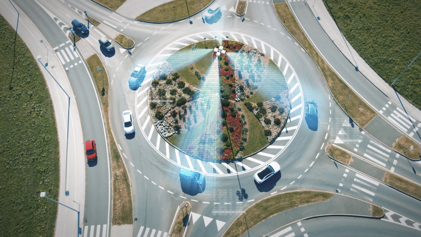 5G Smart City Roundabout With Motion Graphics of Antennas Radio Wave Controlling Autonomous Self Driving Cars. Futuristic IOT Wireless Concept Royalty-Free Stock Footage #1060666963