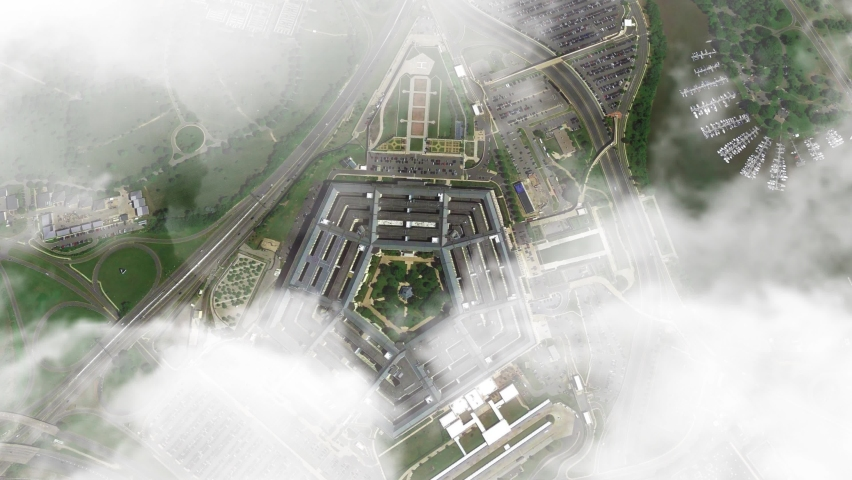 Animated pentagon drone shot with bright clouds