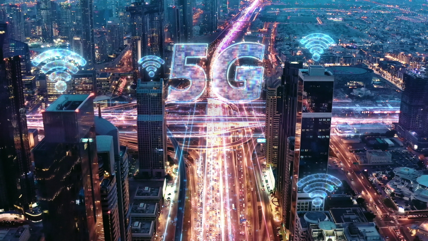 5G Wifi Network Panoramic Skyline Of Metropolitan City Aerial Drone Flight After Sunset Futuristic Technology Ai 5g Network Drone Low Light 4k Royalty-Free Stock Footage #1060669954