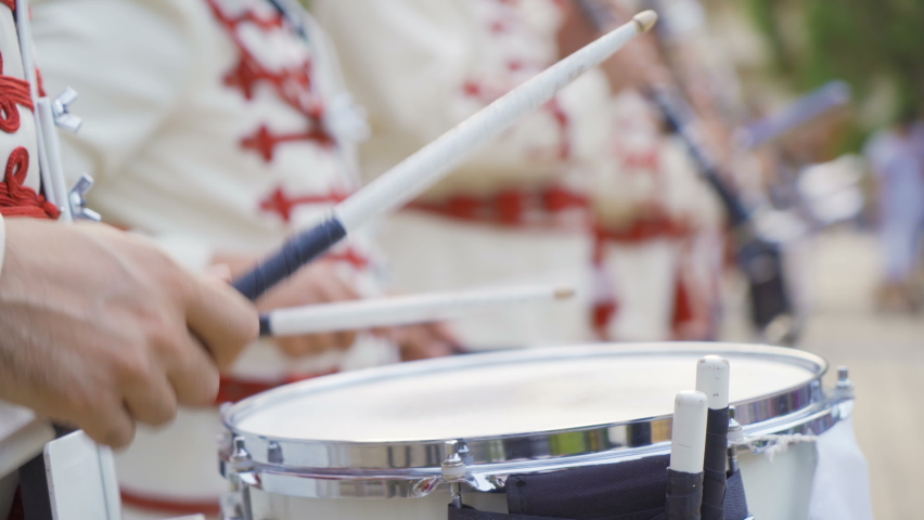 Close shot of Drummer of the National Guards men brass band hands Royalty-Free Stock Footage #1060674274