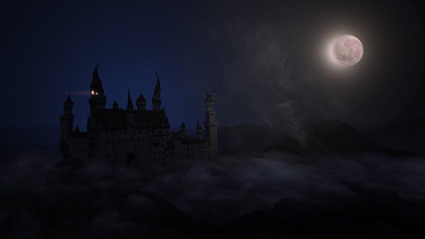 Spooky haunted castle with mist and fog. Establishing shot. Animated in 4K   Shutterstock HD Video #1060681456