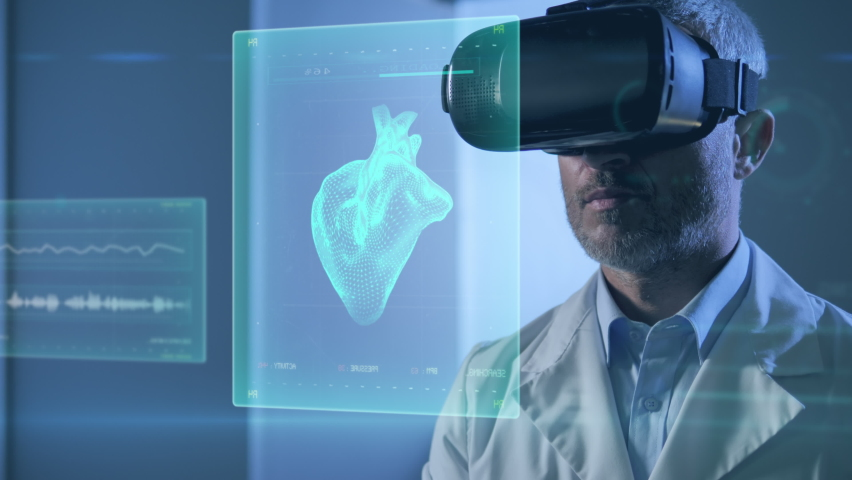 medical science new technology,male doctor using vr glasses virtual reality working on 3d human body parts,innovative scientist in laboratory room checking cyber charts graphics using ai Royalty-Free Stock Footage #1060685308