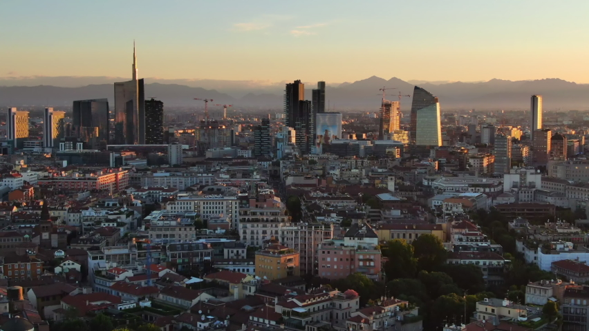 Aerial view drone of milan financial district porta nuova skyscrapers at sunrise,flying over city at dawn | Shutterstock HD Video #1060685317