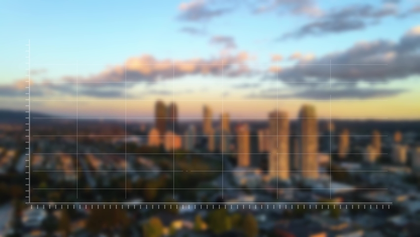 3D aerial view of animated financial information related to stock market, forex, bull market, trading, on a city sunset background - motion graphics render - Vancouver, British Columbia, Canada
