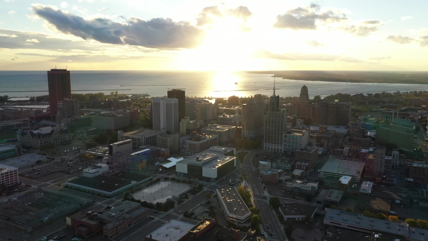 Buffalo New York City Skyline Fall Autumn Sunset Sunrise Aerial 4K | Shutterstock HD Video #1060692937
