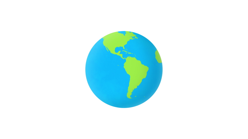 Flat design spinning Earth isolated on white. Animation of planet Earth. looping with hand-drawn texture