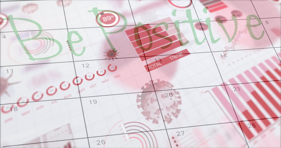 Animation of Be Positive text over calendar page and Covid 19 cells and statistics showing cases. Global coronavirus Covid 19 pandemic concept digitally generated image.   Shutterstock HD Video #1060693654