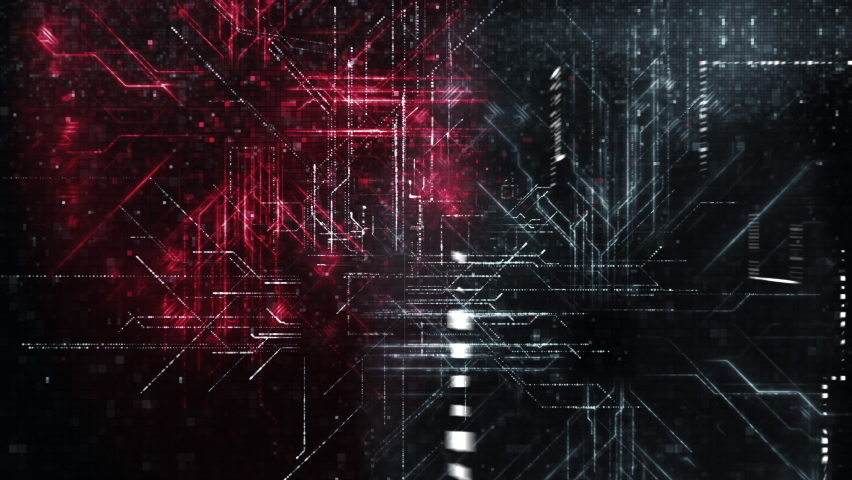 Digital Circuit Network Loop. Endless Flight through a huge digital network of data and circuitry. Perfect to illustrate data, information, computing, big data, statistics, processing, the cloud Royalty-Free Stock Footage #1060694542